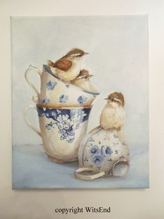custom order.  baby wrens and tea cups, by WitsEnd