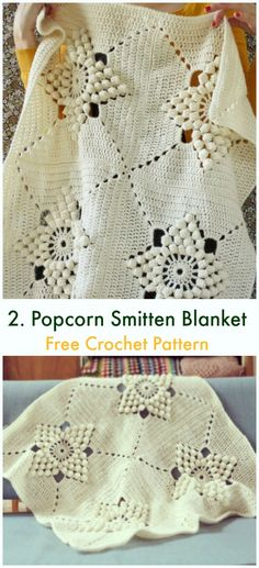 Smitten Blanket Free Crochet Pattern - Squares and Block Afghans - Smitten Blanket Free Crochet Pattern Bobble Detail Blankets. These bobbles look like they are floating! Lacy design of this blanket makes it very interesting and unique. Crochet Afghans, Crochet Bobble Blanket Pattern, Afghan Crochet Patterns, Baby Blanket Crochet, Crochet Baby, Free Crochet, Knit Crochet, Crochet Blankets, Crochet For Beginners Blanket
