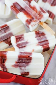 Roasted Strawberry, Rhubarb, and Yogurt Popsicles