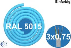 Textilleitung rund 3 x 0,75mm²  blau RAL5015 Synthetikgeflecht Textilkabel Lampe