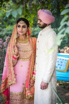 pink lehenga , pink gota patti lehenga , scalloped dupatta , pink and neon pink sharara , maang tikka , pastel morning wedding oiutfit , sikh bride and groom , georgette lehenga , coral lehenga