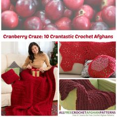 Cranberry Craze: 10 Crantastic Crochet Afghans - The crochet afghan patterns provided in this collection are made with a wonderful shade of red, which is perfect for the holiday season. Decorate accordingly!