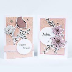 Valmiiden kuvioleikkeiden avulla teet helposti kauniita kortteja juhlaan kuin juhlaan: syntymäpäiväsankarille, äidille, ystävälle... Diy Cards, Place Cards, Place Card Holders, Card Ideas, Homemade Cards, Cards Diy