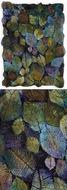 Leaf Cloth series ~ textile artist Lesley Richmond-done with paintsticks?