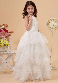 2015 Tulle Tiers Ruched Floor Length Zipper White Halter Sleeveless Ball Gown Flower Girl Dresses FGD