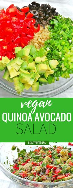 My favorite avocado quinoa salad - vegan, gluten-free and super delicious! This refreshing healthy salad can help you stay on track with your diet and lose weight - great clean eating lunch recipe for work! | www.beautybites.org