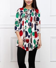 Another great find on #zulily! Green & Red Modern Dot Notch Neck Tunic by  #zulilyfinds