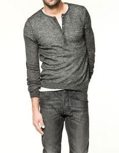 grey Henley w/ white T and jeans