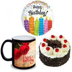 Gift This Personalized Photo Mug To Your Beloved One along with a Black Forest cake and a Foiled HAPPY BIRTHDAY Balloon - It is the Best Gift To Show Your Love on your loved once and make them happy send this combo through our Shop2Hyderabad. We do have Midnight home delivery service.