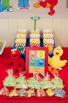 Cookie favors at a Sesame Street birthday party! See more party ideas at CatchMyParty.com!