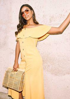 ad469ed617 Missyempire - Ophelia Mustard Bardot Frill Button Midi Dress No Frills