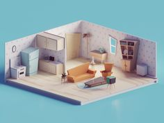 ArtStation - 60s/70s Low poly living room, Mohamed Chahin