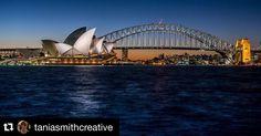 #Repost @taniasmithcreative with @repostapp.  Sydney Opera House & Harbour Bridge taken from Lady Macquaries chair. #sydney #harbourbridge #australia #sydneyharbour #sydneyharbourbridge #dusk #sydneyoperahouse #sydneyoperahouseaustralia  #ladymacquarieschair #nikon_photography_ #moreplacestosee by moreplacestosee http://ift.tt/1NRMbNv