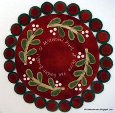 O Mistletoe -- a sweet & simple penny wool applique mat for someone starting out for the first time by {moosebaymuses.blogspot.com}