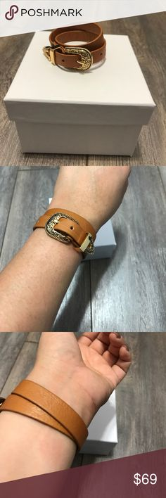 NWOT B-LOW The Belt bracelet in tan and gold. B-LOW The Belt Bri Bri bracelet in tan leather with gold hardware. New without tags (never been worn). Fits up to a size 7.25 wrist. B-Low the Belt Jewelry Bracelets