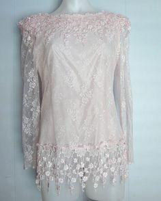 31809b4397a Vintage 1980s Crochet Lace Dress Flapper Deco Pink Sheer Scallop Blouse Top  s m Flappers