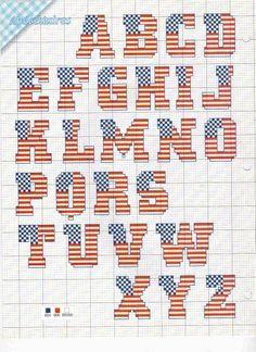 Cross-stitch ABCs American Flag...   alfabeti punto cruz - matilde - Álbumes web de Picasa
