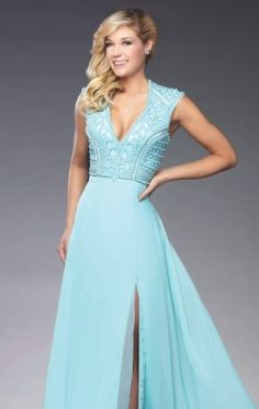 Beaded Slit Chiffon Gown by Evenings by Mon Cheri TBE21505