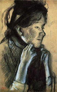 Degas - woman tying the ribbons of her hat (bit of pastel)
