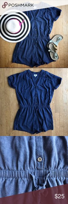 """Linen Summer Romper cinch tie waist trendy cute linen navy romper. Great for summer as it's so light and airy! I bought it in summer 2016 and now it's a little big on me. Excellent used condition. It's great for outdoor parties and shopping, and I loved that I didn't have to put an """"outfit"""" together, haha! Rompers are so easy! ☺️ 55% linen, 45% rayon. Old Navy Pants Jumpsuits & Rompers"""