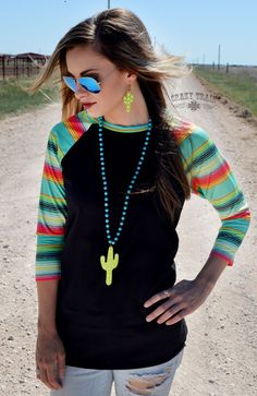 New Crazy Train Serape Saguaro Black Cowgirl Raglan Baseball Shirt Small to 3XL #CrazyTrain #BaseballT
