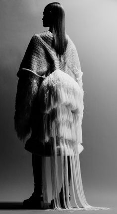 Fashion as Art - sculptural knitwear design with tiered fringe back detail // Alison Tsai