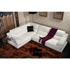 Olive - White Leather Sectional Sofa - Sectional Sofas - Living Room