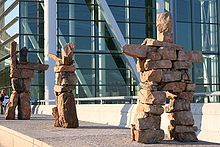 "A Canadian airport (Toronto) exhibits Inuit art which resembles a symbol of ill-omen meaning a ""Place of horrible death. Toronto Airport, Toronto City, City Airport, Toronto Canada, Stone Cairns, Inuit People, Arctic Tundra, Cultural Significance, Inuit Art"