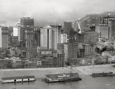 """1908 Pittsburgh. """"A group of skyscrapers.""""The Keystone State, built in 1890, traveled between Pittsburgh and Cincinnati. In 1913 she was converted into the an excursion boat ... and Penn Avenue in the Strip. In the late 1800s, Pittsburgh had more than a dozen inclines; only two remain."""