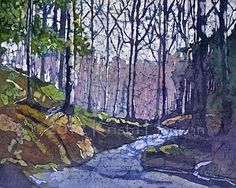 """Shadow River - 16x20""""  Unframed  Watercolor Painting on Rice Paper by Krista Hasson $720.00"""