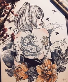 Tumbling into a studio ghibli rabbit hole 😂💕 Tattoo Samurai, Art Sketches, Art Drawings, Arte Emo, Aquarell Tattoos, Art Graphique, Studio Ghibli, Manga Comics, Ink Art