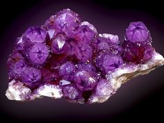 "Quartz (Var: Amethyst)minID: AUH-CM8 - Locality: Boekenhoutshoek area (Boekenhouthoek), Mkobola district, Mpumalanga Province, South Africa - Amethyst crystals with "" stars "" in the points. Very good colour for the site, formerly in the Willy Israël collection. Specimen size, 110 mm. Collection and photo, Paul De Bondt."