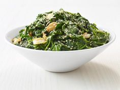 Garlic-Sesame Spinach recipe from Food Network Kitchen Dinner Side Dishes, Dinner Sides, Vegetable Sides, Vegetable Side Dishes, Spinach Recipes, Vegetable Recipes, Vegetarian Recipes, Cooking Recipes, Healthy Recipes