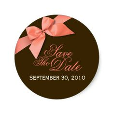 Coral Red Ribbon Save The Date Wedding Announce Round Sticker