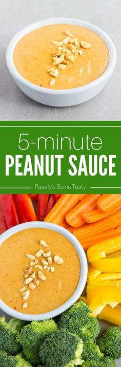 5 Minute Peanut Sauce! Made with peanut butter, brown sugar, red chili sauce, rice vinegar, water, lemon, garlic, & salt. Vegan & Soy free.