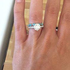 Turquoise and Diamond Wedding Ring Boho Wedding Ring Wedding | Etsy