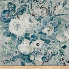 Grey Blue Large Linen Floral Print Lisette Stonewash P Kaufmann Fabric P Kaufmann Fabric, Tapestry Headboard, Turquoise Home Decor, Painted Brick Walls, White Interior Design, Interior Decorating, Decorating Ideas, Drapery Fabric, Curtain Material
