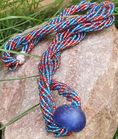 Red and Blue Bead Necklace Red Neclace Beaded by AfrowearHouse