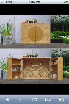 ShackUp Bikeinabox shed for your ride is a waist-height box with room for two bikes & shelves for all your helmets pumps tools etc. Garden Tool Storage, Shed Storage, Garden Tools, Outdoor Bike Storage, Bicycle Storage, Range Velo, Bike Shelf, Gazebos, Casas Containers