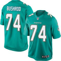 Youth Nike Miami Dolphins #74 Jermon Bushrod Limited Aqua Green Team Color NFL Jersey