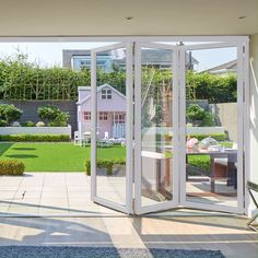 Weve got a vast range of colours and woodgrain or smooth textures to match your home style. You can even have different colours on the interior and exterior of your property! Glass House, Glass Door, White Bifold Doors, Folding Patio Doors, Casa Kids, Garden Room Extensions, Backyard Patio Designs, Door Design, Windows And Doors