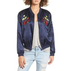 Women's Tularosa Mara Embroidered Satin Bomber Jacket (€200) ❤ liked on Polyvore featuring outerwear, jackets, navy, bomber style jacket, embroidered jacket, navy jacket, navy satin jacket and satin jackets
