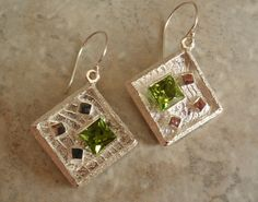 Peridot Sterling Silver Artisan Earrings Cuttlebone by cutterstone, $249.00