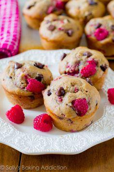 An easy recipe for skinny raspberry chocolate chip banana muffins.