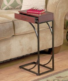 Over the Sofa Snack Table   Sofa or Chair Side Table with Drawer Storage Drink Holder TV Remote ...