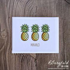 RBergfeld Card Designs: Mahalo Pineapples - Sunny Studio Stamps, Tropical Paradise