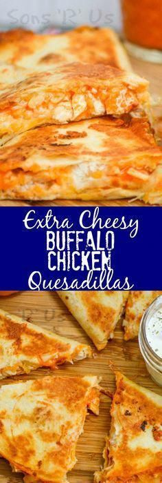 Your favorite wings just met your favorite ooey, gooey Tex Mex treat with these crispy Extra Cheesy Buffalo Chicken Quesadillas. It was destiny, and it is glorious. An extra cheesy, crisp quesadilla that features the bold flavor of buffalo chicken wings. Mexican Food Recipes, New Recipes, Cooking Recipes, Favorite Recipes, Recipies, Tofu Recipes, Couscous Recipes, Tilapia Recipes, Recipes Dinner