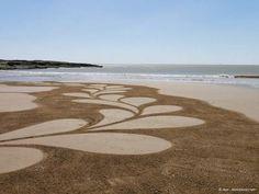 Land art, sand art, landscape art, sand drawing, playa painting, lumix, beach, flower