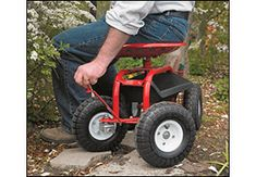 Steerable Rolling Seat with Tool Tray - Gardening I want one of these with a big cart attached to it!