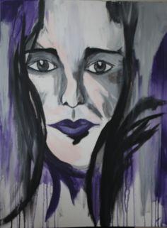Doek 60 x 80 cm Acryl  Gothic meisje